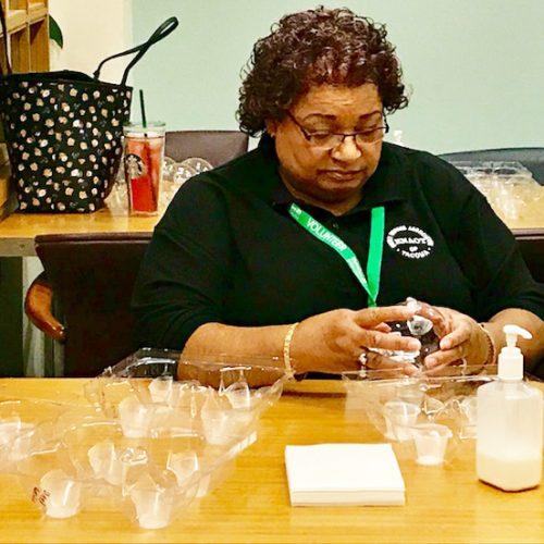 Victoria Fletcher busy starting the Ornament Process