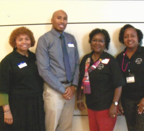 Shirley Aikin, Rasheem Graham, Lynda Ash, Gwen Haynes volunteer at the African American Women's Health conference, September 2013.