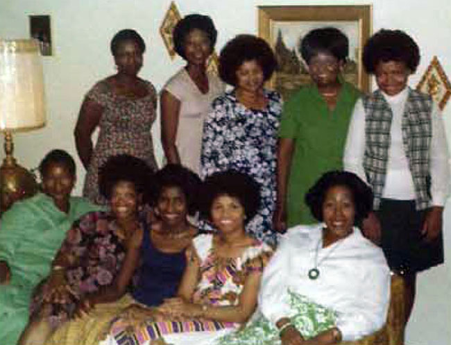 Standing: Delois Brown, Tommie Gibbs, Martine Carter, Letha Bradley Sitting: Emmer Jackson, Anne Sledge, Idella Whitfield-Stith, Shirley Aikin, Louise Coombs