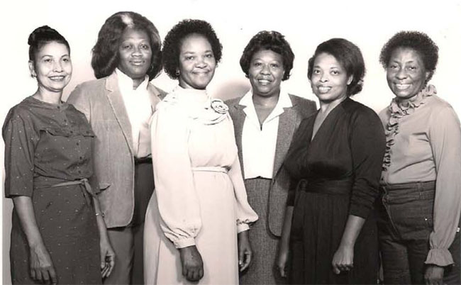 ENAOT Members circa 1980s: Alberta Tisdale, Anne Johnson, Lucille Jackson, Sue Yarbourgh, Anne Sledge, Lottie Harrington