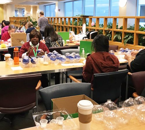 Multicare Hospital, making ornaments at Christmas time to make for the kids.